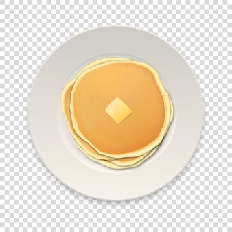 Realistic pancakes with a piece of butter on a white plate closeup isolated on transparency grid background, top view.