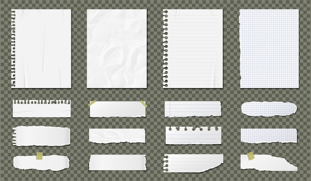 Realistic paper blank sheets set isolated on transparent