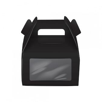 現実的な紙のケーキパッケージ、ブラックボックス、ハンドルとウィンドウのギフトコンテナ。フードボックステンプレートを奪う