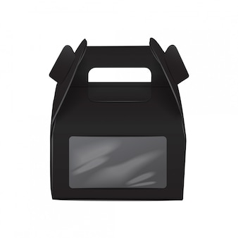 Realistic paper cake package, black box , gift ontainer with handle and window. take away food box  template