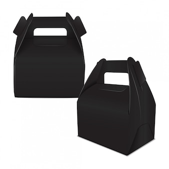 Realistic paper cake package, set of black box , gift ontainer with handle. take away food box  template