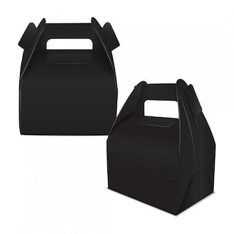 リアルなペーパーケーキパッケージ、ブラックボックスのセット、ハンドル付きギフト容器。フードボックステンプレートを奪う