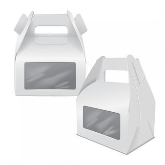 現実的な紙のケーキパッケージ、ホワイトボックスのセット、ハンドルとウィンドウのギフト容器。フードボックステンプレートを奪う