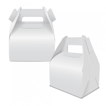 Realistic paper cake package, set of white box , gift ontainer with handle. take away food box