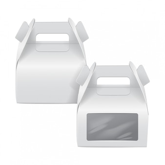 Realistic paper cake package set, white box , gift ontainer with handle and window. take away food box  template