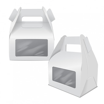 Realistic paper cake package, set of white box , gift ontainer with handle and window. take away food box  template