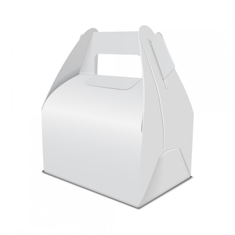 Realistic paper cake packaging box , gift ontainer with handle. take away food box  template