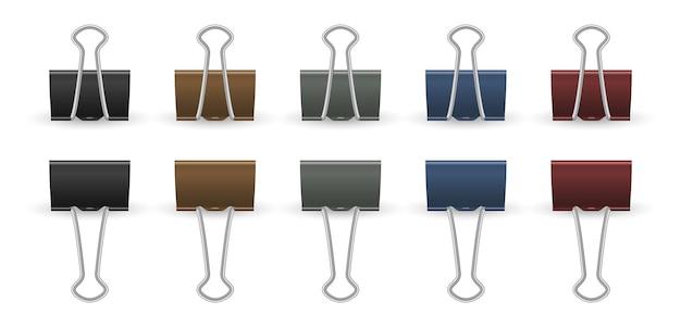 Реалистичные скрепки. кнопки, изолированные золотисто-черные и цветные офисные принадлежности. 3d зажимы, изолированные канцелярские векторные коллекции. скрепка прикреплена, иллюстрация органайзера фиксации зажима