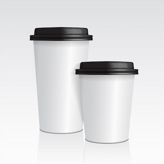 현실적인 종이 커피 컵. 벡터 템플릿까지 3d 커피 컵 모의 세트