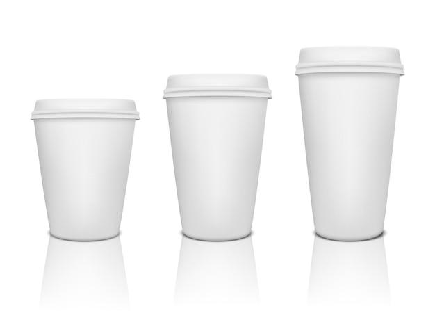 反射のあるリアルな紙コーヒーカップセット。