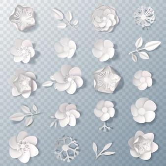 Realistic paper flowers transparent set