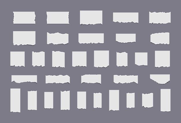 Реалистичные обрывки бумаги с рваными краями разорванные белые записки