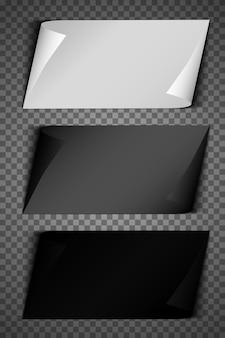 角を折りたたんだリアルな紙シート。