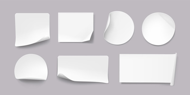 Realistic paper sticker collection