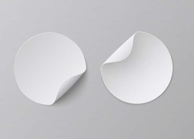 Realistic paper stickers. white adhesive round, blank fold corner paper