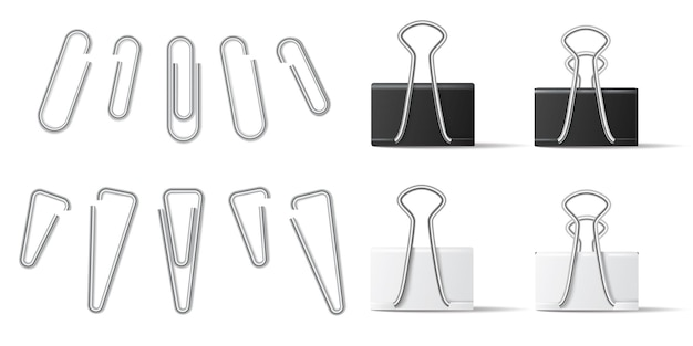 Realistic paperclip and binder for file attachment in business document