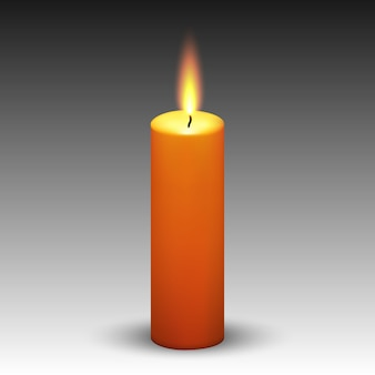 Realistic paraffin burning candle isolated on white background.