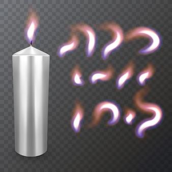 現実的なパラフィンまたはワックス燃焼キャンドルとキャンドルのクローズアップの異なる炎が分離されました