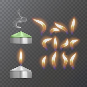 Realistic paraffin or wax burning candle and different flame of a candle closeup isolated