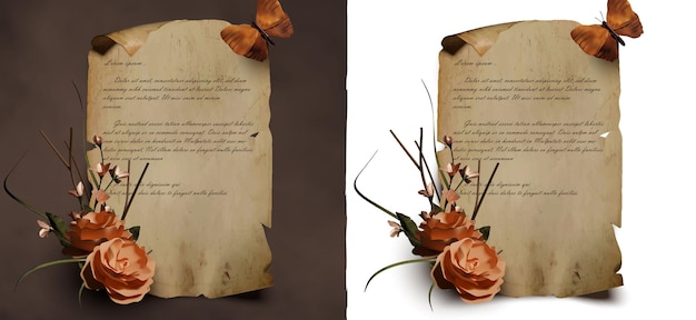 Realistic parchment template with beautiful flower and butterfly