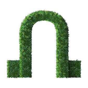 Реалистичная парковая скульптура арка. природа зеленый кустарник забор, цветочные ветви и вечнозеленые листья ворота, кроны деревьев листва кустарника входная дверь иллюстрация