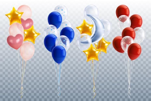 Set di palloncini festa realistici Vettore gratuito