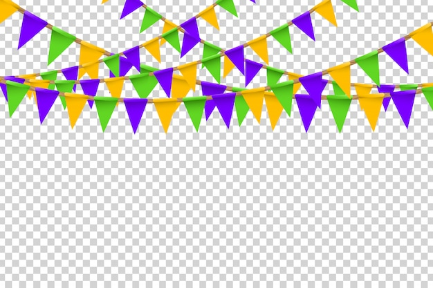Realistic  party flags with halloween colors for decoration and covering on the transparent background. concept of happy halloween.