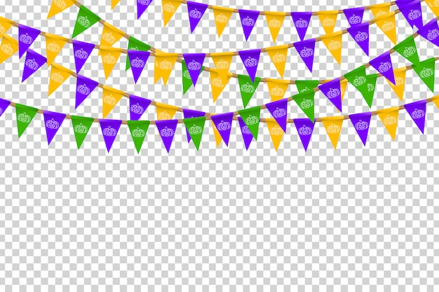 Realistic  party flags with halloween colors and white pumpkin pattern for decoration and covering on the transparent background. concept of happy halloween.