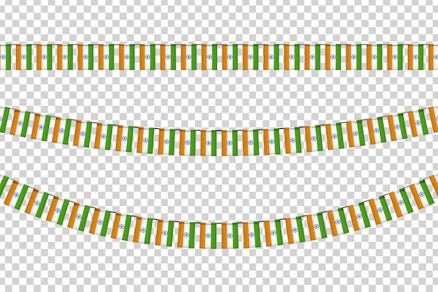 Realistic  party flags with indian flag pattern for decoration and covering on the transparent background. concept of happy independence day in india.
