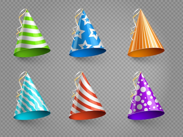 Realistic party hats vector set isolated on transparent