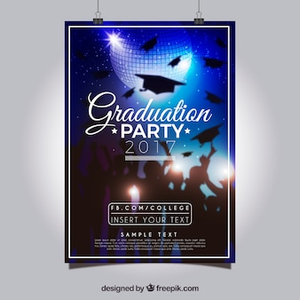 Realistic party poster with graduation caps