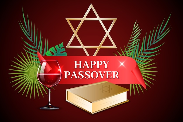 Realistic passover with wine and torah