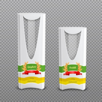 Realistic pasta packages transparent background