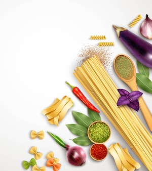 Realistic pasta template with ingredients and products for its cooking