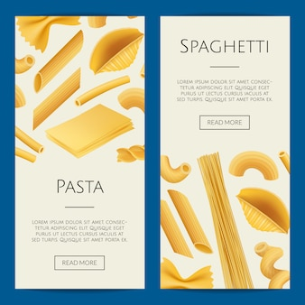 Realistic pasta types banner template set