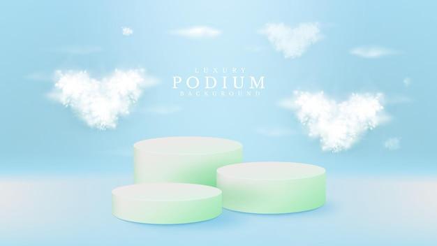 青い背景にハート型の白い雲とリアルなパステルグリーンの表彰台。販促用の商品を展示する展示台。 3dベクトルイラスト。