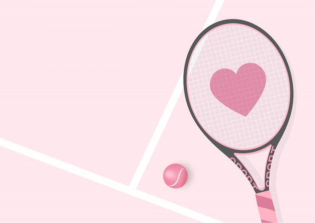Realistic pastel pink racket  with heart and tennis ball