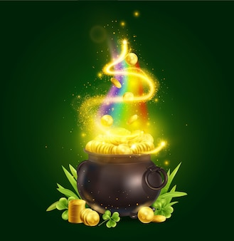 Realistic patrick day green pot composition with magic pot and stacks of golden coins with rainbow illustration