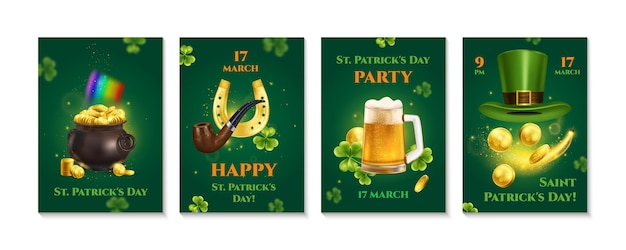 Realistic patrick day set of vertical banners