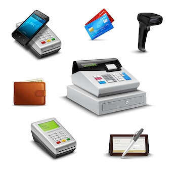 Realistic payment set with cheque wallet barcode reader