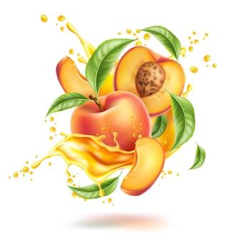 Реалистичные плоды персика с кусочками листьев в брызгах сока