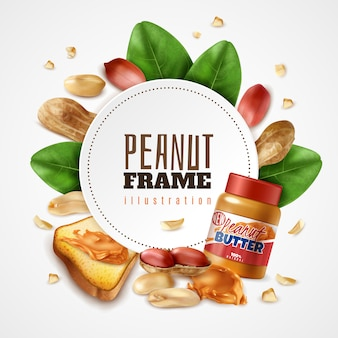 Realistic peanut butter frame composition with editable text inside round frame with leaves and arachis nuts