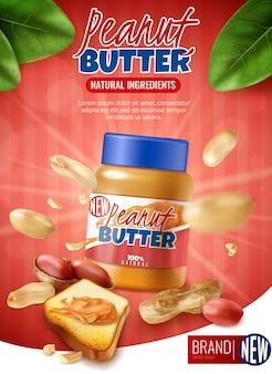 Вертикальная реклама реалистичного арахисового масла с фирменной банкой и арахисовой фасолью с оболочкой и текстом