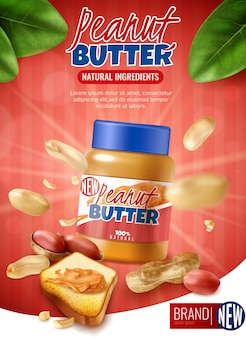 Realistic peanut butter vertical  ads with branded jar and arachis beans with shell and text