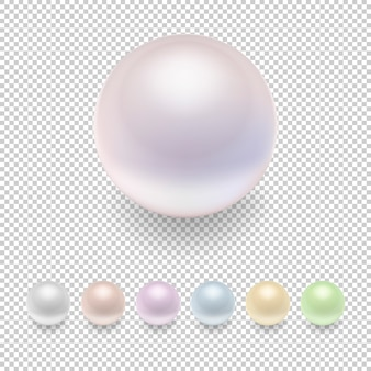 Realistic pearl icon set, variegated colors.