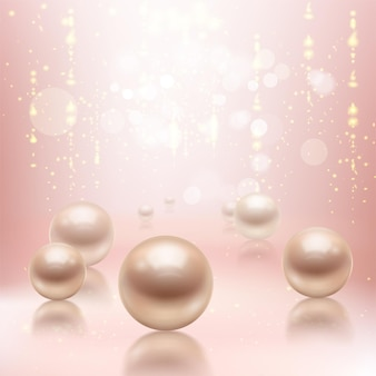 Realistic pearls background illustration