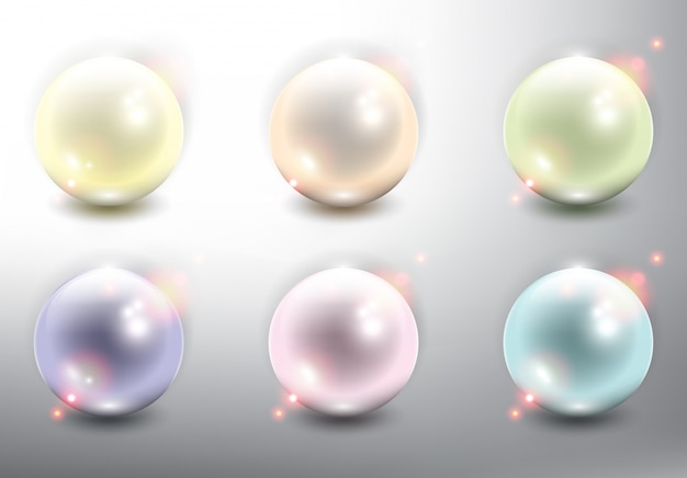 Realistic pearls set of 6. isolated on the white background.