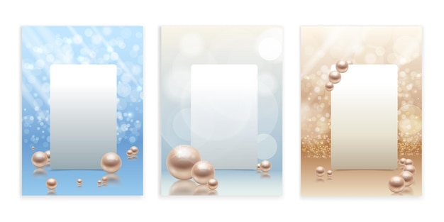 Realistic pearls set frames illustration