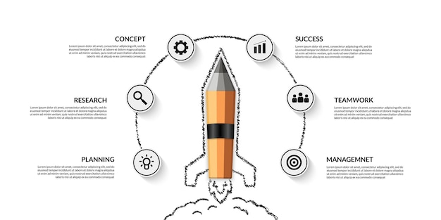 Realistic pencil spaceship launching infographic with multiple options