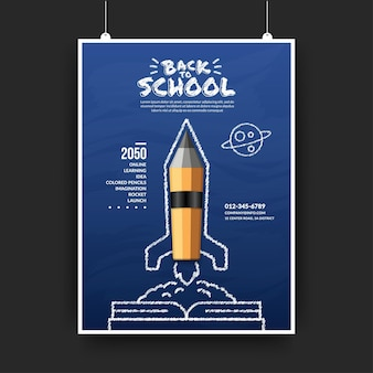 Realistic pencils rocket launching out from the book to space, welcome back to school flyer